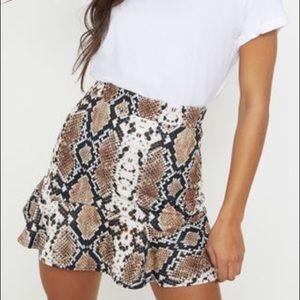 Pretty Little Thing Taupe Snake Skin Mini Skirt